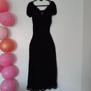APRIL CORNELL Maxi Black See-through Dress w/ Slip